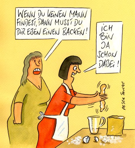 Cartoon: backen (medium) by Peter Thulke tagged single,ehe,backen,frauen,frauen,backen,ehe,single