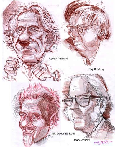 Cartoon: 4 People (medium) by Cartoons and Illustrations by Jim McDermott tagged pencildrawings,sketchbook,writers,isaacasimov,bigdaddyroth,raybradbury,sciencefiction,romanpolanski