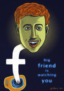 Cartoon: Zuckerberg is watching you (small) by gilderic tagged zuckerberg,facebook,zuckerbook,caricature,cartoon,geek,gilderic,illustration