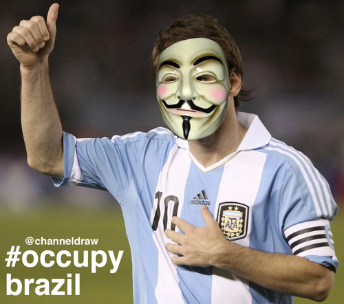 Cartoon: Occupy Brazil - Messi (medium) by Political Comics tagged football,fifa,brazil,worldcup,2014,brasil,occupybrazil