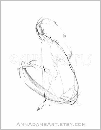 Cartoon: 006 woman figure sketch art (medium) by AnnAdams tagged nude,woman,female,figure,drawing,sketch,art,artwork,pencil,sitting,beautiful,line,black,and,white