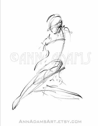 Cartoon: 008 female figure sketch (medium) by AnnAdams tagged nude,figure,sketch,art,artwork,drawing,pencil,ann,adams,beautiful