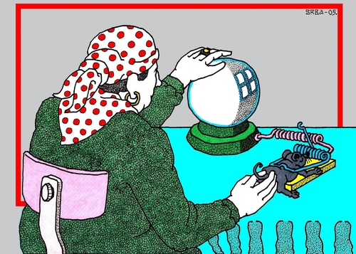 Cartoon: Internet (medium) by srba tagged fortuneteller,crystal,ball,mousetrap