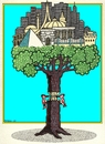 Cartoon: World Tree (small) by srba tagged tree,woodpeckers,buildings