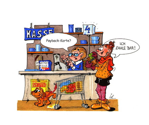 Cartoon: Bonuspunkte (medium) by irlcartoons tagged payback,bargeld,bargeldlos,cash,bonus,bonuspunkte,punkte,bonusprogramm,kundenkarte,real,rewe,drogeriemarkt,shoppen,einkaufen,supermarkt,kasse,kartenzahlung,prämie,kaufhof,sammeln,apollo,einkaufsgutschein,missverständnis,irlcartoons
