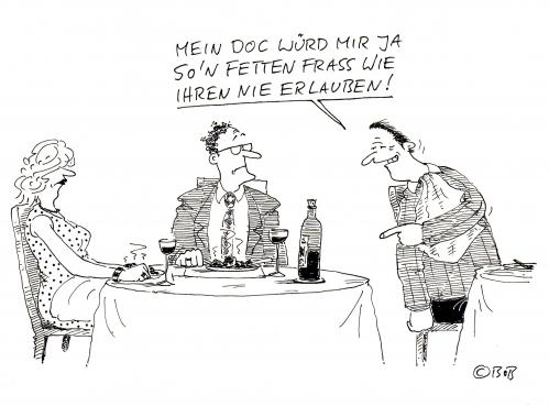 Cartoon: ohne Titel (medium) by Christian BOB Born tagged restaurant,verdauung,kalorien,restaurant,gastronomie,verdauung,kalorien,gesundheit,essen,nahrung,ernährung,mittagessen,abendessen,menü,fett,dick,gewicht,doktor,patient,gesund