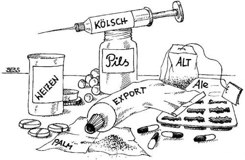 Cartoon: Doping (medium) by besscartoon tagged bier,doping,pils,tabletten,spritze,bess,besscartoon