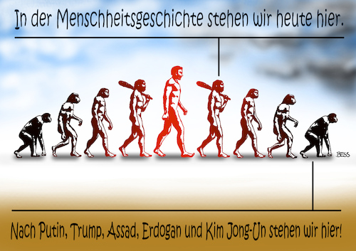 Cartoon: ewiger Kreislauf (medium) by besscartoon tagged trump,putin,politik,ergogan,gewalt,assad,kim,jong,un,menschheitsgeschichte,evolution,bess,besscartoon