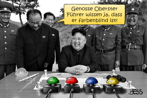 Cartoon: farbenblind (medium) by besscartoon tagged nordkorea,amerika,kim,jong,un,krieg,frieden,langstreckenrakete,atomare,bedrohung,raketentest,wasserstoffbombe,gewalt,atombombe,roter,knopf,farbenblind,oberster,führer,politik,rakete,usa,bess,besscartoon