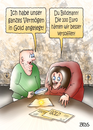 Cartoon: Geldanlage (medium) by besscartoon tagged geld,euro,finanzen,gold,geldanlage,inflation,vermögen,arm,reich,armut,paar,ehe,beziehung,saufen,alkohol,bess,besscartoon