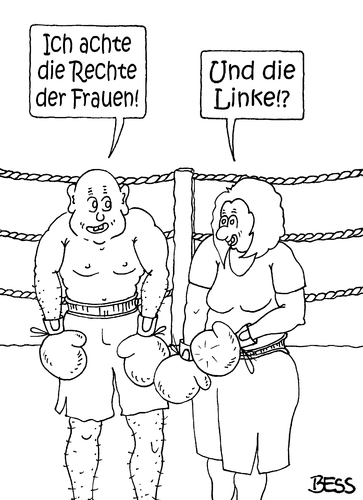 Cartoon: Rechte der Frauen (medium) by besscartoon tagged mann,frau,beziehung,gleichberechtigung,sport,boxen,rechte,linke,emanzipation,bess,besscartoon