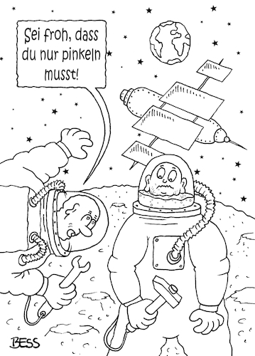 Cartoon: so ein Glück (medium) by besscartoon tagged raumfahrt,mond,erde,astronaut,kosmonaut,pinkeln,iss,technik,bess,besscartoon