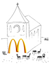 Cartoon: McKatholisch (small) by besscartoon tagged kirche fastfood fast food essen religion mcdonald bess besscartoon