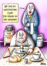 Cartoon: pazifistisches Cafe (small) by besscartoon tagged cafe,pazifist,frühstück,eier,köpfen,essen,gewalt,kellner,gast,bess,besscartoon