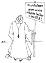 Cartoon: Protest (small) by besscartoon tagged kirche,christentum,pfarrer,katholisch,pädophilie,bess,besscartoon