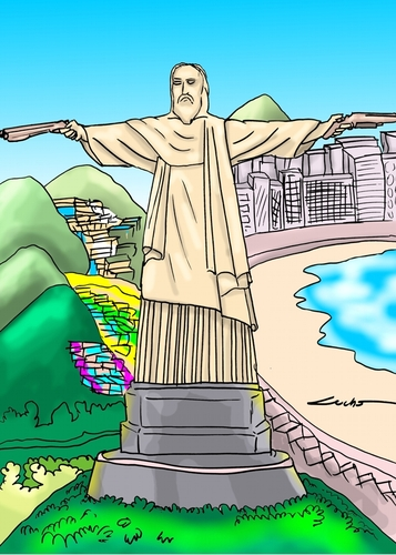 Cartoon: BRAZIL FAVELA NARCOS (medium) by lucholuna tagged brazil,narcos