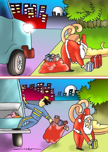 Cartoon: Cuidado santa (medium) by lucholuna tagged merry,christmas