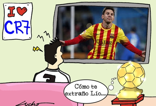 Cartoon: ronaldo Balon de oro y Messi (medium) by lucholuna tagged balondeoro,cristiano,ronaldo,messi