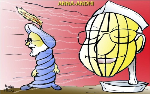 Cartoon: Anna Hazere Vs Indian Government (medium) by Aswini-Abani tagged india,gandhi,anna,hazare,indepedence,potitics,politicians,bharat,public,poor,poverty,aswini,abani,asabtoons