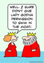 Cartoon: Godiva swim moat king queen (small) by rmay tagged godiva,swim,moat,king,queen