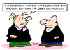 Cartoon: hostile jury judge witnesses (small) by rmay tagged hostile,jury,judge,witnesses