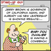 Cartoon: SUg making a comeback Jerry Brow (small) by rmay tagged sug,making,comeback,jerry,brown,baby,doc,duvalier