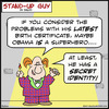 Cartoon: SUG obama superhero secret ident (small) by rmay tagged sug,obama,superhero,secret,identity,birth,certificate